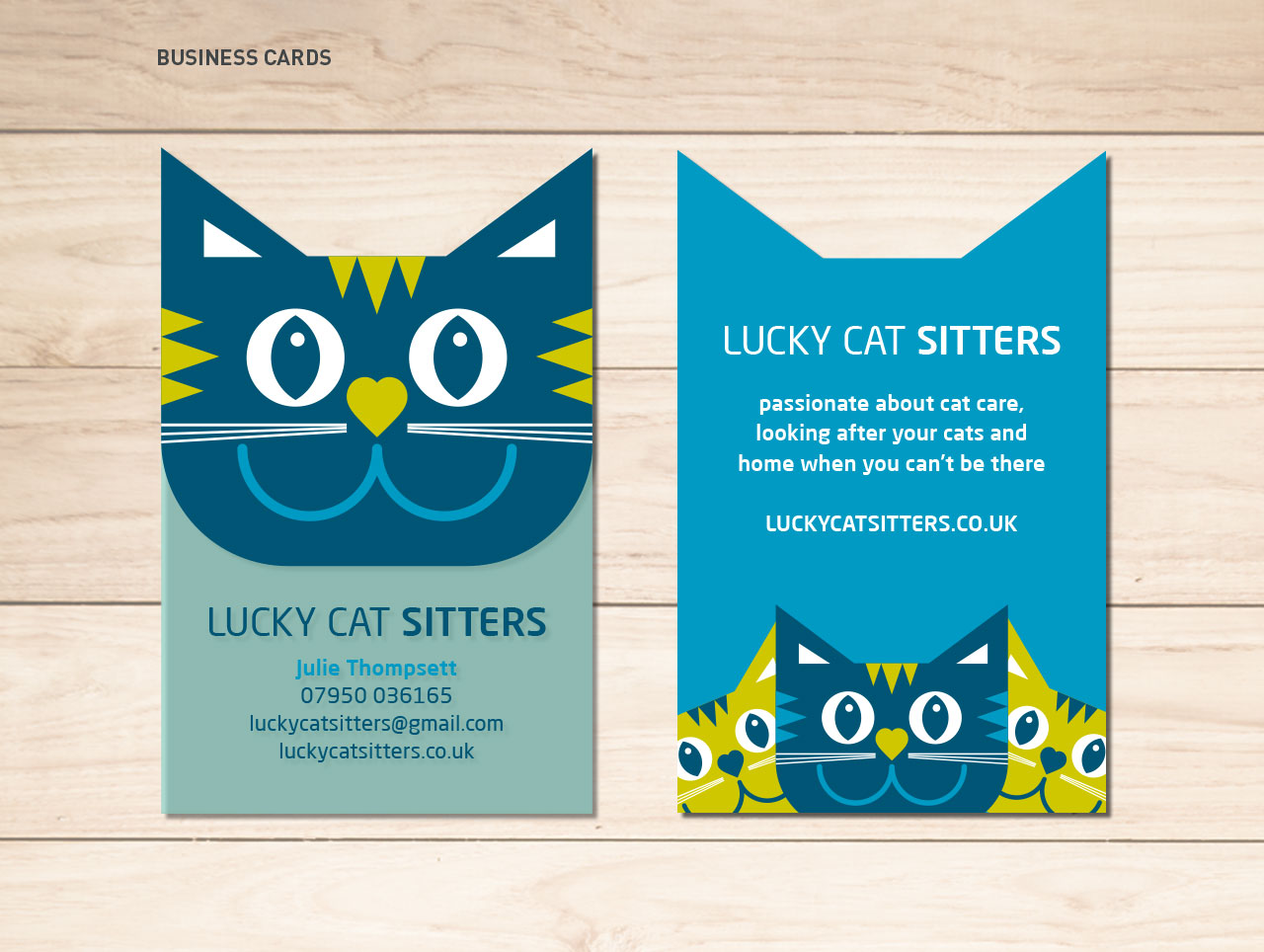 Lucky Cat Sitters business card design