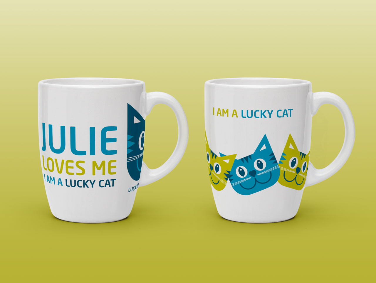 Lucky Cat Sitters promotional mugs