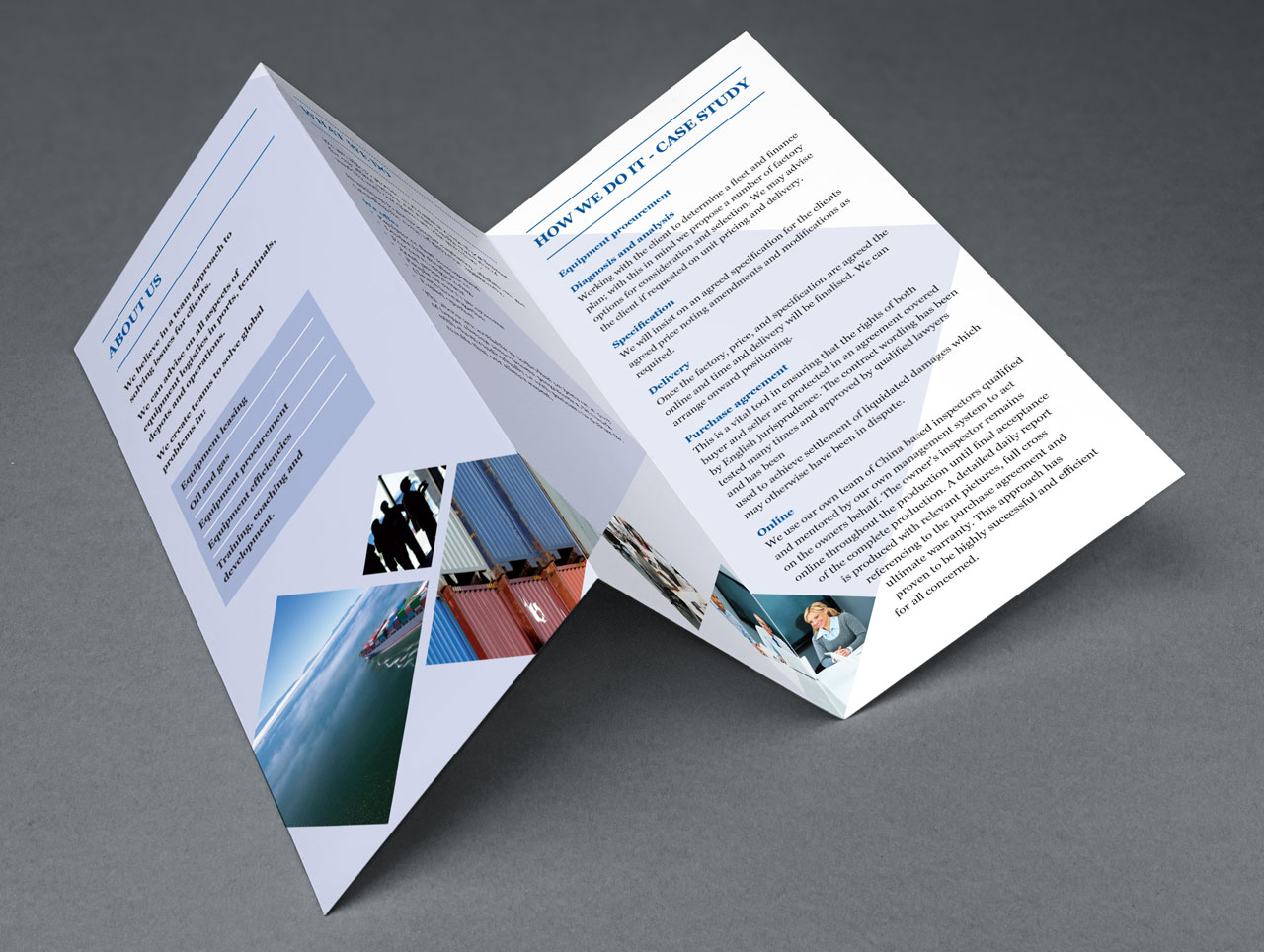 logistics sector brochure and leaflet design
